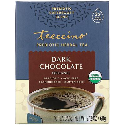 Купить Teeccino Prebiotic Herbal Tea, Organic Dark Chocolate, Caffeine Free, 10 Tea Bags, 2.12 oz (60 g)