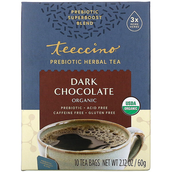 Teeccino, Prebiotic Herbal Tea, Organic Dark Chocolate, Caffeine Free , 10 Tea Bags, 2.12 oz (60 g)