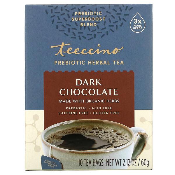 Prebiotic Herbal Tea, Organic Dark Chocolate, Caffeine Free , 10 Tea Bags, 2.12 oz (60 g)