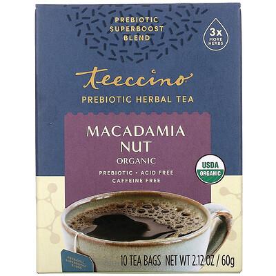 Купить Teeccino Prebiotic Herbal Tea, Organic Macadamia Nut, Caffeine Free, 10 Tea Bags, 2.12 oz (60 g)
