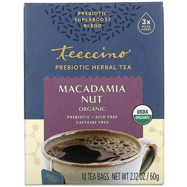 Prebiotic Herbal Tea, Organic Macadamia Nut, Caffeine Free, 10 Tea Bags, 2.12 oz (60 g)