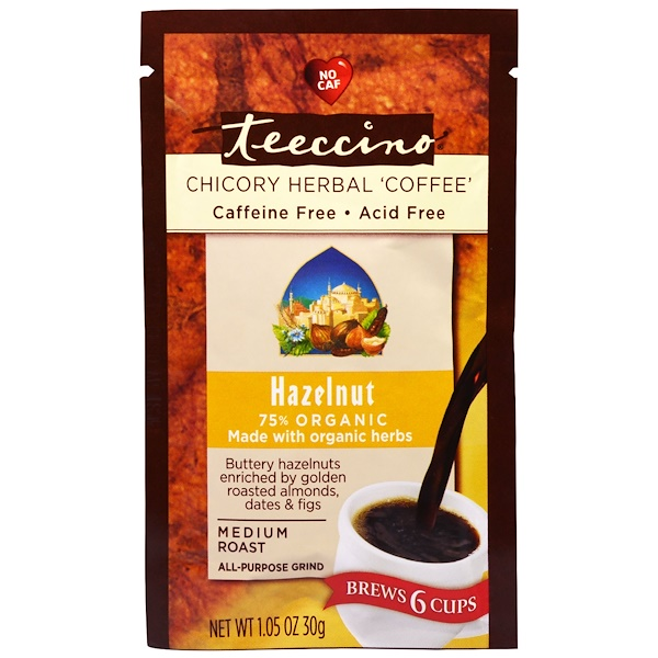 Teeccino, Chicory Herbal Coffee, Medium Roast, Hazelnut, Caffeine Free, 1.05 oz (30 g) (Discontinued Item)