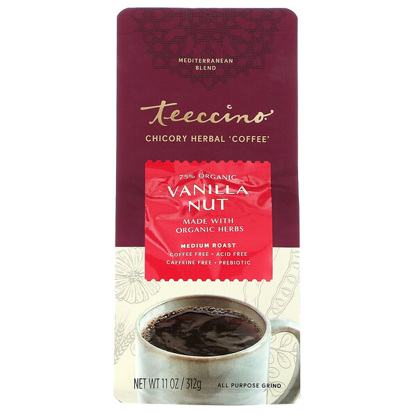 Teeccino, Chicory Herbal Coffee, Vanilla Nut, Medium Roast, Caffeine Free , 11 oz (312 g)