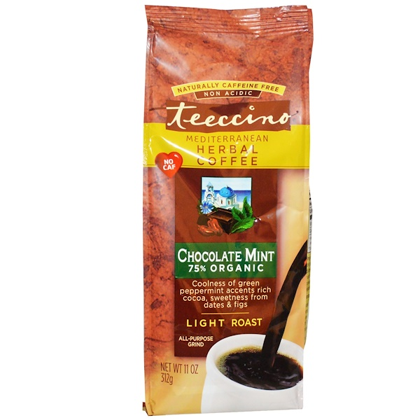 Teeccino, Mediterranean Herbal Coffee, Light Roast, Caffeine Free, Chocolate Mint, 11 oz (312 g)