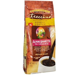 Teeccino, Mediterranean Herbal Coffee, Medium Roast, Almond Amaretto, Caffeine Free, 11 oz (312 g)