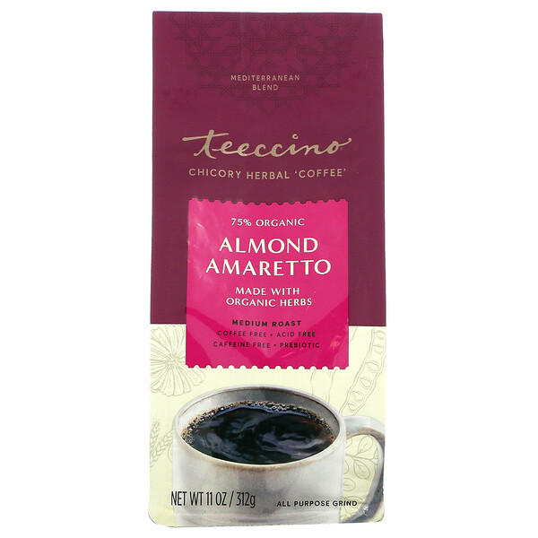 Chicory Herbal Coffee, Almond Amaretto, Medium Roast, Caffeine Free, 11 oz (312 g)