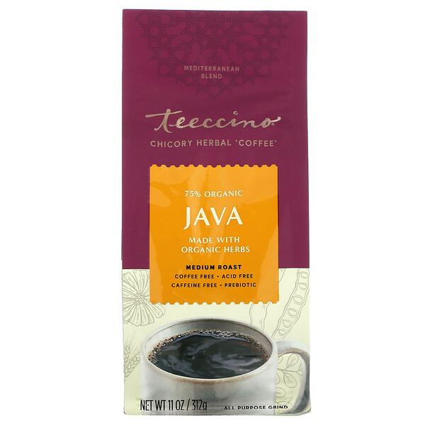 Chicory Herbal Coffee, Java, Medium Roast, Caffeine Free, 11 oz (312 g)