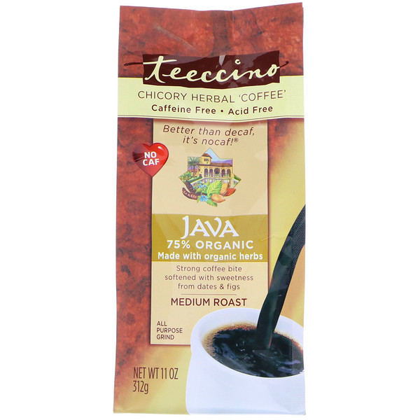 Teeccino, Chicory Herbal Coffee, Java, Medium Roast, Caffeine Free, 11 oz (312 g)