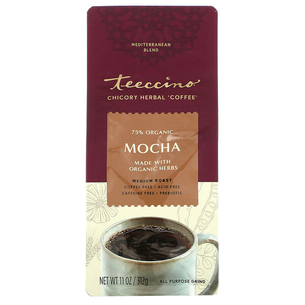 Chicory Herbal Coffee, Mocha, Medium Roast, Caffeine Free, 11 oz (312 g)