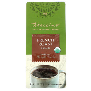 Teeccino, Chicory Herbal Coffee, Organic French Roast, Dark Roast, Caffeine Free, 11 oz (312 g)