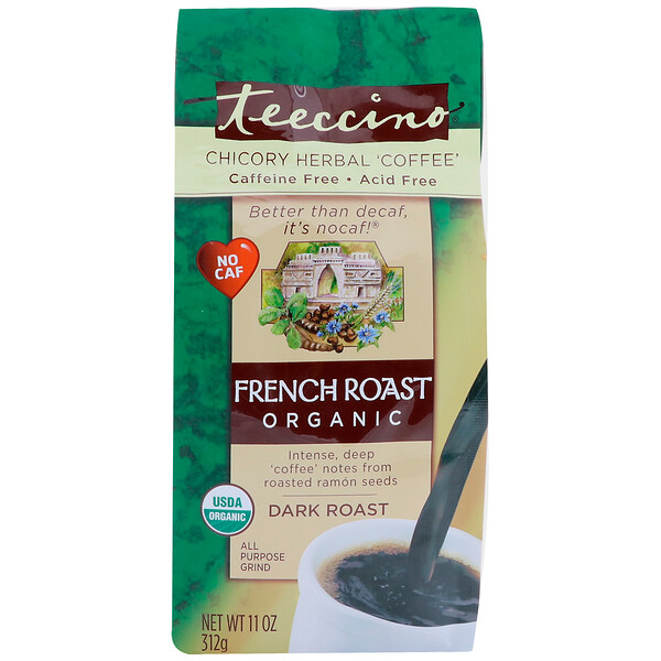 Teeccino, Chicory Herbal Coffee, Organic French Roast, Dark Roast, Caffeine Free, 11 oz (312 g)