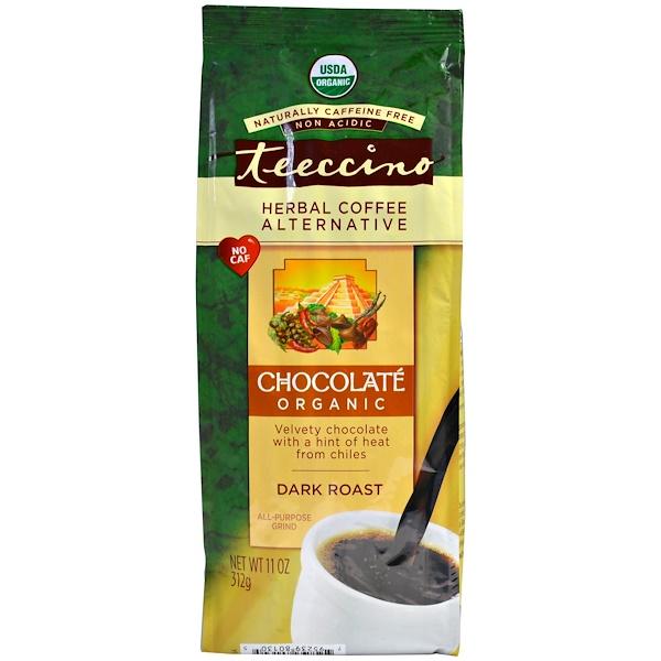 Teeccino, Organic Herbal Coffee Alternative, Dark Roast, Caffeine Free, Chocolate, 11 oz (312 g)