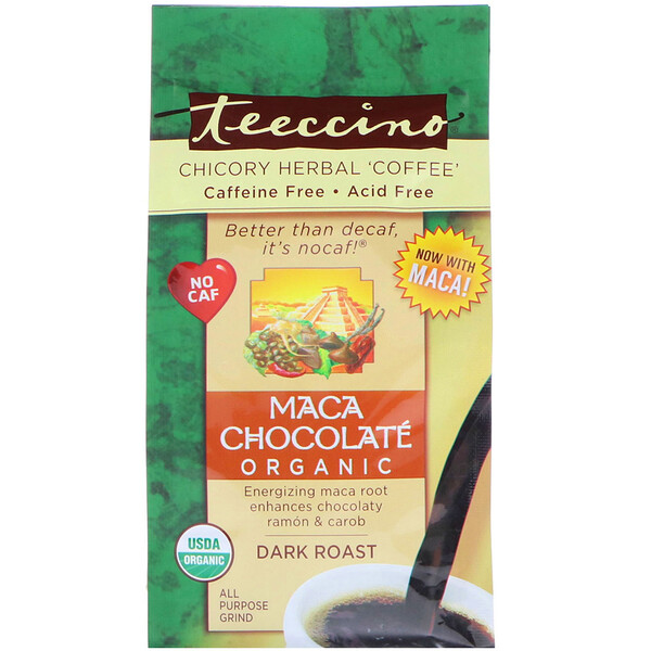 "Teeccino, Травяной ""кофе"" с органическим цикорием, мака и шоколад, темная обжарка, без кофеина,, 11 унц. (312 г) (Discontinued Item)"