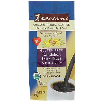 """Teeccino 有機菊苣草本""""咖啡"""",蒲公英深度烘焙咖啡,不含咖啡因,10 盎司(284 克)"""
