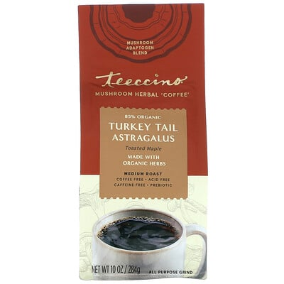 Купить Teeccino Mushroom Herbal 'Coffee', Turkey Tail Astragalus, Medium Roast, Caffeine Free, 10 oz (284 g)
