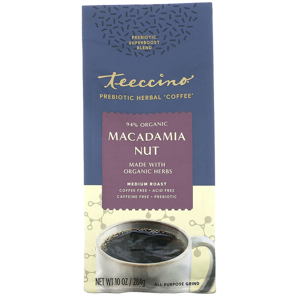 Prebiotic Herbal Coffee, Medium Roast, Caffeine Free, Macadamia Nut, 10 oz (284 g)