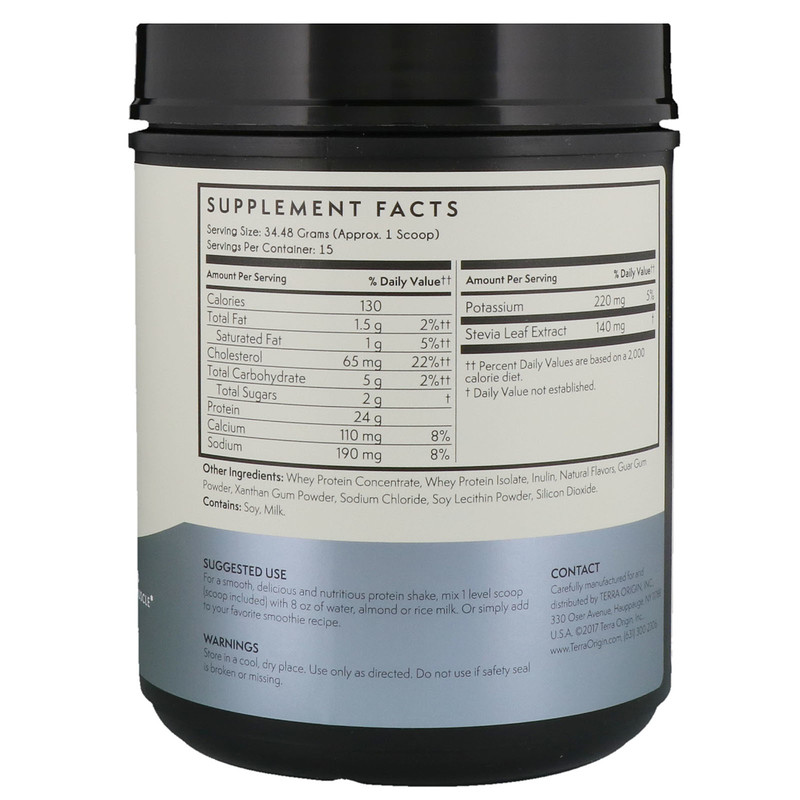 Terra Origin, Whey Protein, Vanilla, 1.14 lbs (517.2 g) - photo 1