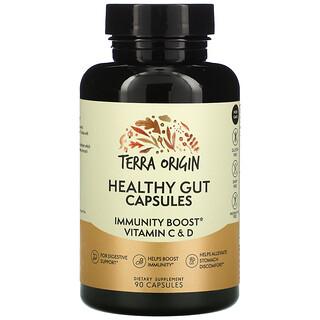 Terra Origin, капсулы для здоровья кишечника с витаминамиC и D для повышения иммунитета, 90капсул