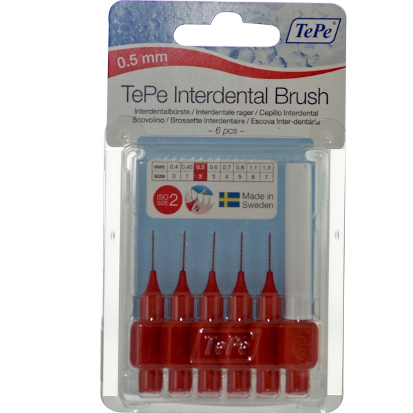 TePe Oral Health Care, Interdental Brush, ISO Size 2, 0.5 mm, 6 Pieces (Discontinued Item)
