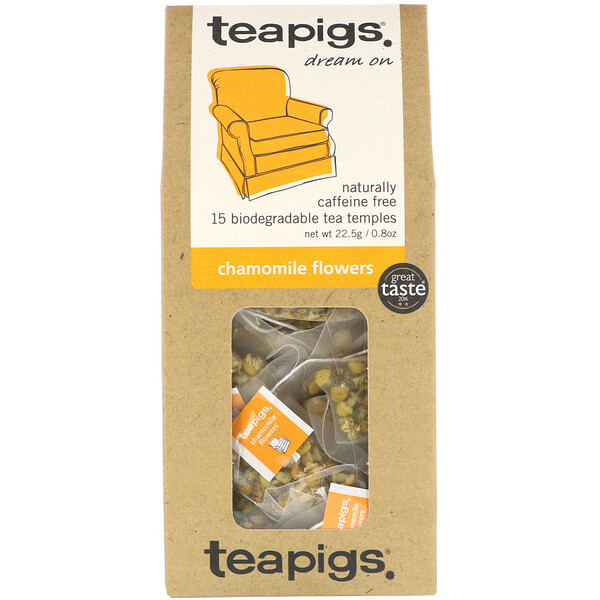 TeaPigs, Dream On, Chamomile Flowers, Caffeine Free, 15 Tea Temples, 0.8 oz (22.5 g) (Discontinued Item)