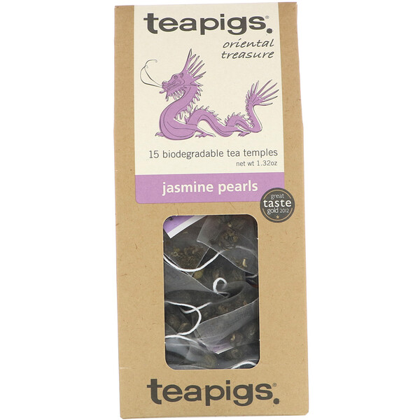 TeaPigs, Oriental Treasure, Jasmine Pearls, 15 Tea Temples, 1.32 oz (Discontinued Item)