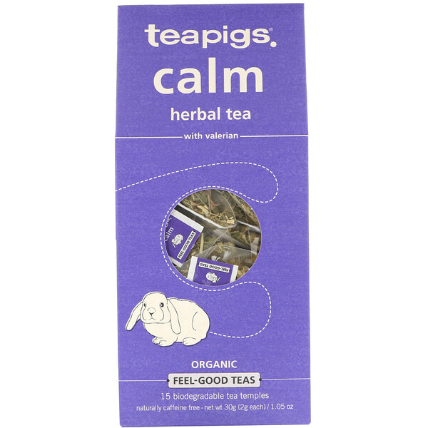 TeaPigs, Calm Herbal Tea with Valerian, Caffeine Free, 15 Tea Temples, 1.05 oz (30 g) (Discontinued Item)