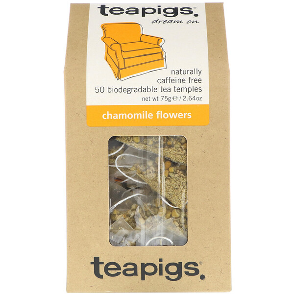 TeaPigs, Dream On, Chamomile Flowers, Caffeine Free, 50 Tea Temples, 2.64 oz (75 g) (Discontinued Item)