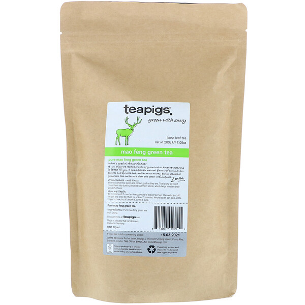 TeaPigs, Green with Envy, Mao Feng Green Tea, Loose Leaf Tea, 7.05 oz (200 g) (Discontinued Item)