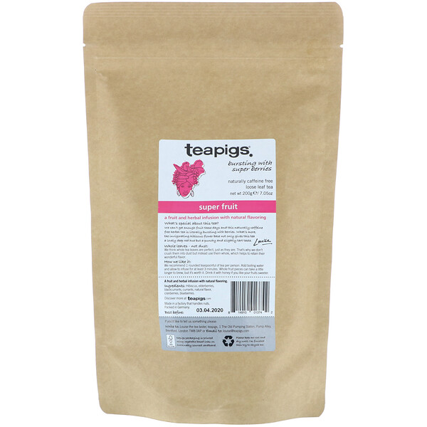 TeaPigs, Bursting with Super Berries, Super Fruit, Loose Leaf Tea, Caffeine Free, 7.05 oz (200 g) (Discontinued Item)