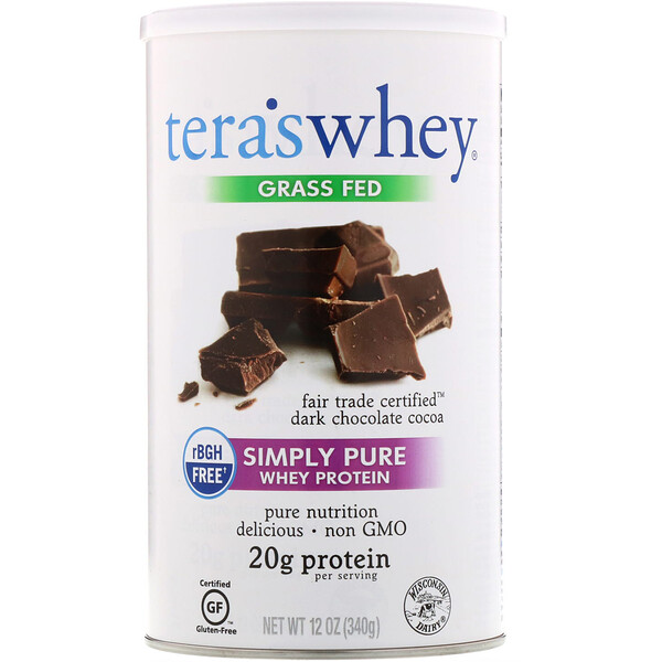 Grass Fed, Simply Pure Whey Protein, Fair Trade Dark Chocolate Cocoa, 12 oz (340 g)