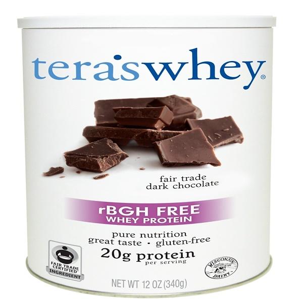 Tera's Whey, 不含重組牛生長激素的乳清蛋白粉,公平貿易的黑巧克力口味,12盎司(340克)