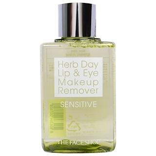 The Face Shop, Herb Day Lip & Eye Makeup Remover, Sensitive, 4.39 fl oz (130 ml)