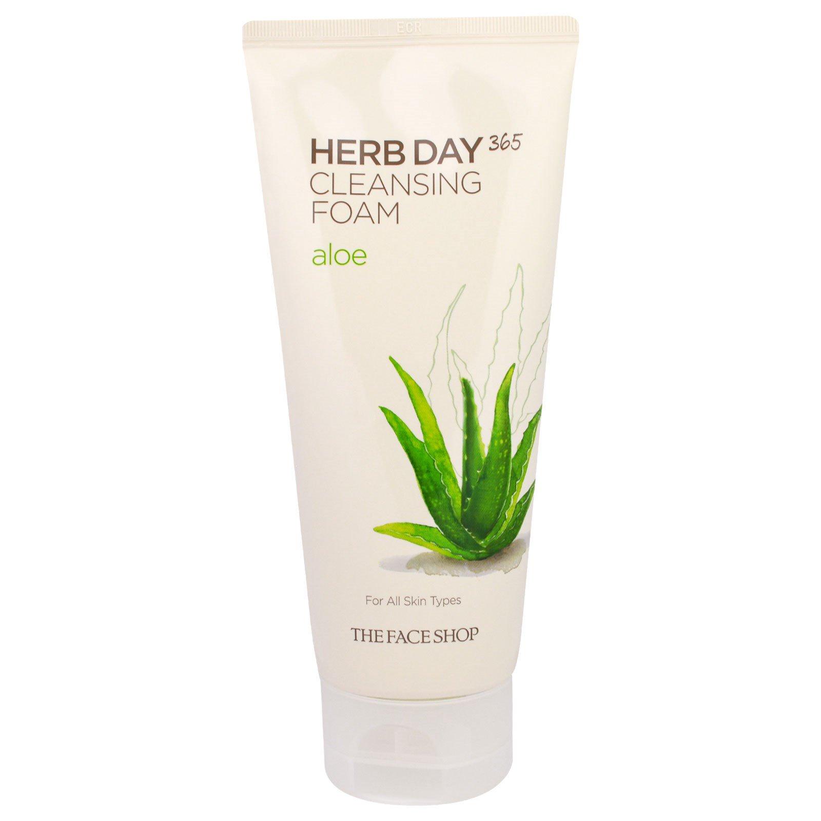 The Face Shop, Herb Day 365, Очищающая Пена, Алоэ, 5,74 жидких унций (170 мл)