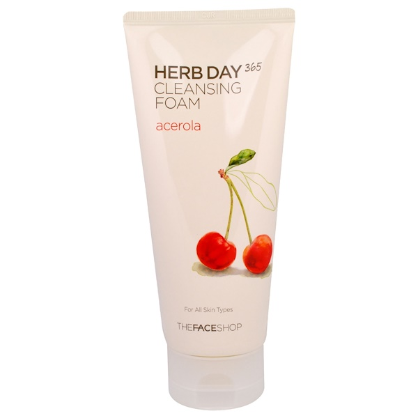 The Face Shop, Herb Day 365, Cleansing Foam, Acerola, 5.74 fl oz (170 ml)