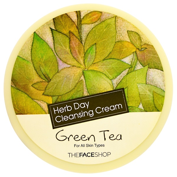 The Face Shop, Herb Day Cleansing Cream, Green Tea, 5 oz (150 ml) (Discontinued Item)