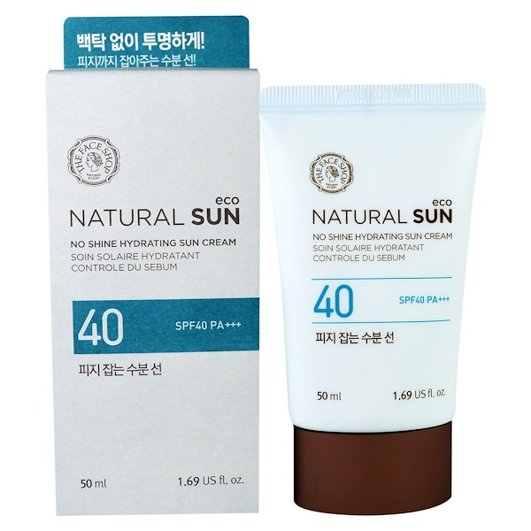 The Face Shop, Natural Sun, No Shine Hydrating Sun Cream, SPF40 PA+++, 1.69 fl oz (50 ml)