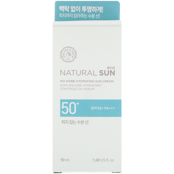 The Face Shop, Natural Sun Eco, No Shine Hydrating Sun Cream, SPF50+ PA+++, 1.69 fl oz (50 ml) (Discontinued Item)