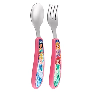 The First Years, Fork and Spoon Set featuring Disney Princess, 9 + Months, 2 Piece Set