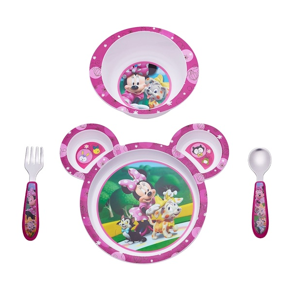 The First Years, Feeding Set, Minnie Mouse, 9m+, 4 Piece Set (Discontinued Item)