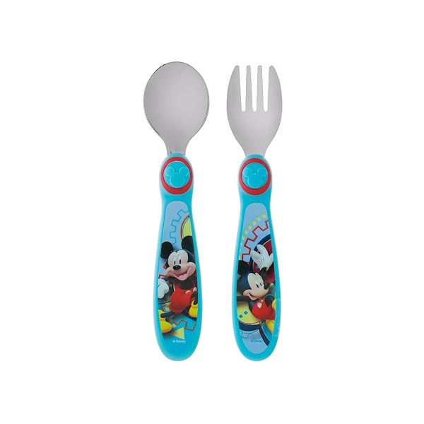 The First Years, Disney Mickey Mouse Fork and Spoon, 9 + Months, 2 Piece Set (Discontinued Item)