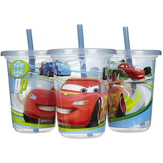 The First Years, Disney Cars, Take & Toss Straw Cups, 18+ Months, 3 Pack - 10 oz (296 ml)