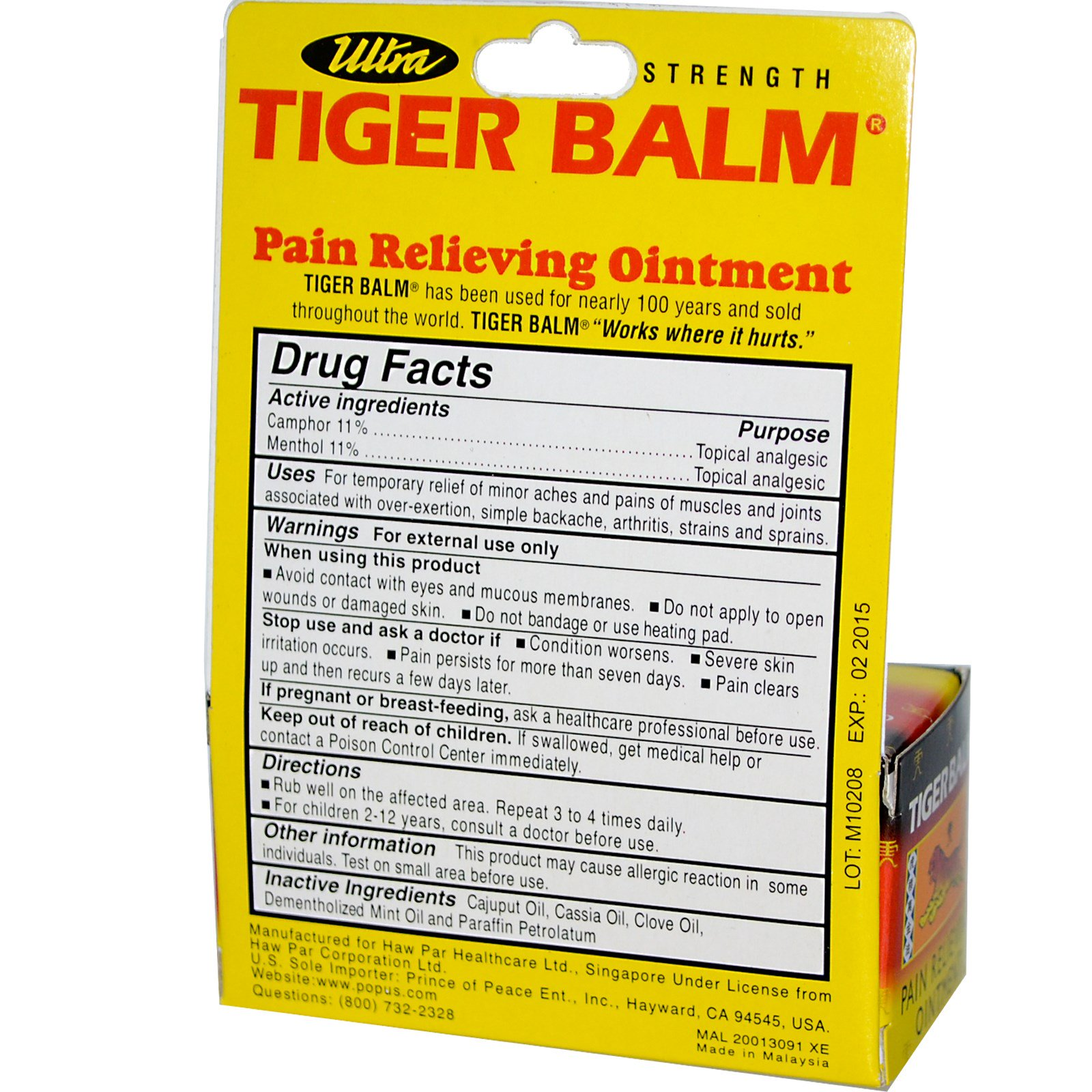 Tiger Balm, Ultra Strength Pain Relieving Ointment, Non-Staining, 0 63 oz  (18 g)