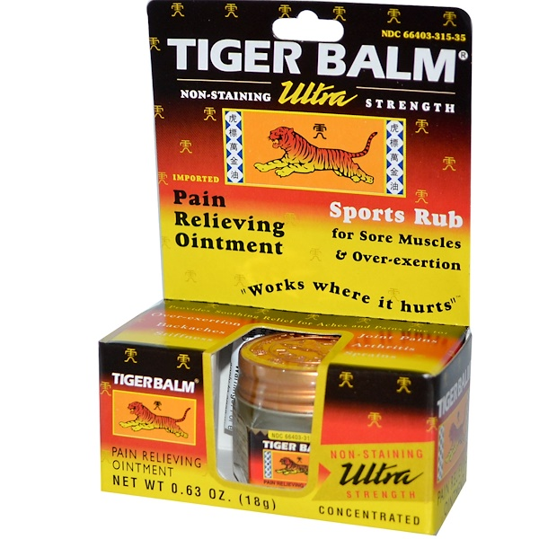 Tiger Balm, Ultra Strength Pain Relieving Ointment, Non-Staining, 0.63 oz (18 g) (Discontinued Item)