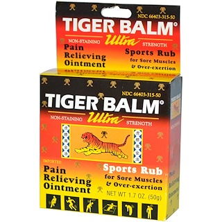 Tiger Balm, Pain Relieving Ointment, Ultra Strength, Non-Staining, 1.7 oz (50 g)
