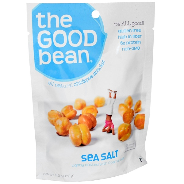 The Good Bean, All Natural Chickpea Snacks!, Sea Salt, 12 Bags, 2.5 oz (70 g) Each (Discontinued Item)