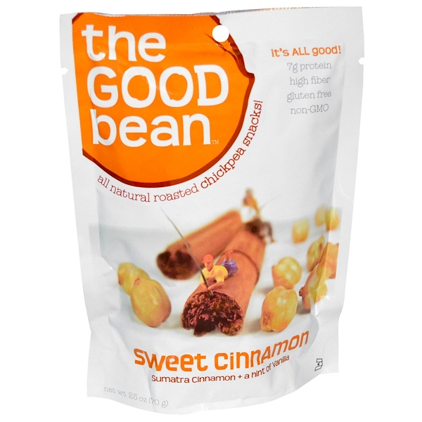The Good Bean, All Natural Roasted Chickpea Snacks!, Sweet Cinnamon, 12 Bags, 2.5 oz (70 g) Each (Discontinued Item)