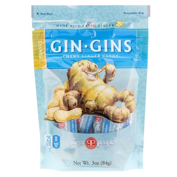 The Ginger People, Gin Gins,耐嚼薑糖,花生,3盎司(84克)