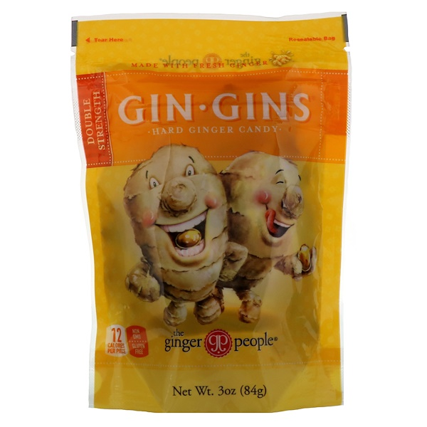 The Ginger People, Gin Gins, Hard Ginger Candy, Double Strength, 3 oz (84 g)