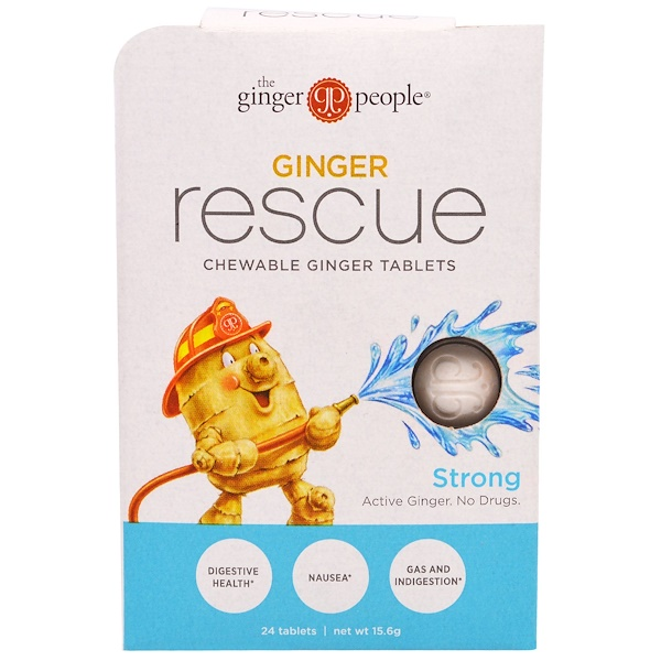 The Ginger People, Ginger Rescue, Comprimidos Mastigáveis de Gengibre, Forte, 24 Comprimidos (15,6 g)