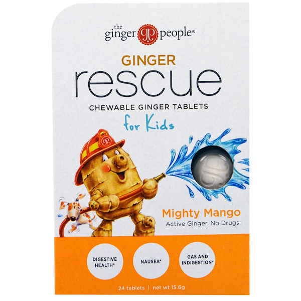 The Ginger People, Ginger Rescue, Chewable Ginger Tablets for Kids, Mighty Mango, 24 Tablets (15.6 g) (Discontinued Item)